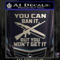 Gun Ban Decal Sticker SQ Silver Vinyl 120x120
