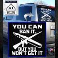 Gun Ban Decal Sticker SQ White Emblem 120x120
