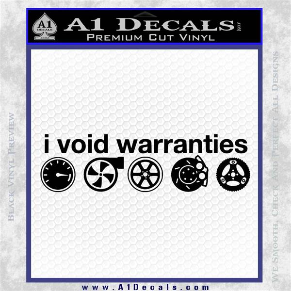 I Void Warranties D2 Decal Sticker Black Logo Emblem