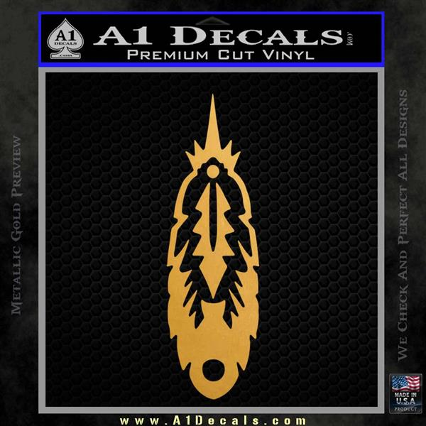 Indian Feather Vinyl Decal Sticker DV Metallic Gold Vinyl Vinyl