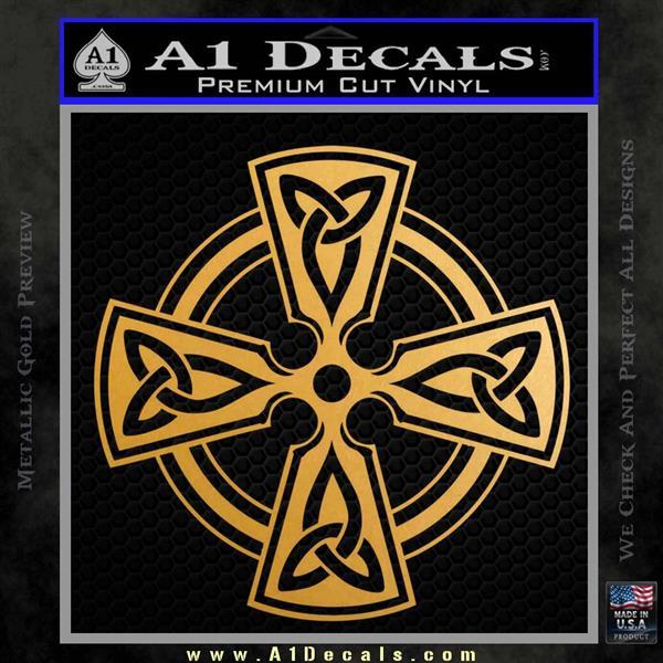 Irish Celtic Cross D7 Decal Sticker Metallic Gold Vinyl Vinyl