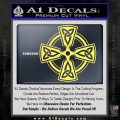 Irish Celtic Cross D7 Decal Sticker Yelllow Vinyl 120x120