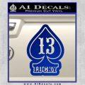 Lucky 13 D3 Decal Sticker Blue Vinyl 120x120