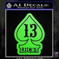 Lucky 13 D3 Decal Sticker Lime Green Vinyl 120x120