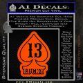 Lucky 13 D3 Decal Sticker Orange Vinyl Emblem 120x120