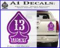 Lucky 13 D3 Decal Sticker Purple Vinyl 120x97