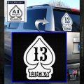 Lucky 13 D3 Decal Sticker White Emblem 120x120