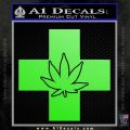 Medical Marijuana Decal Sticker Cross Lime Green Vinyl 120x120