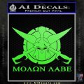 Molon Labe CS Decal Stickers Lime Green Vinyl 120x120