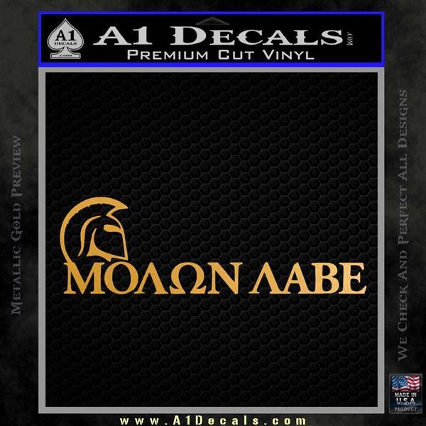 Molon Labe DWH Decal Sticker Metallic Gold Vinyl