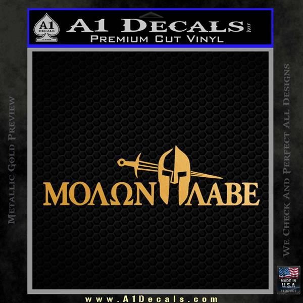 Molon Labe DWS Decal Sticker Metallic Gold Vinyl
