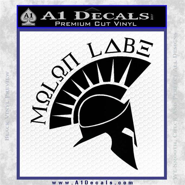 Molon Labe Decal Sticker Spartan D8 Black Logo Emblem