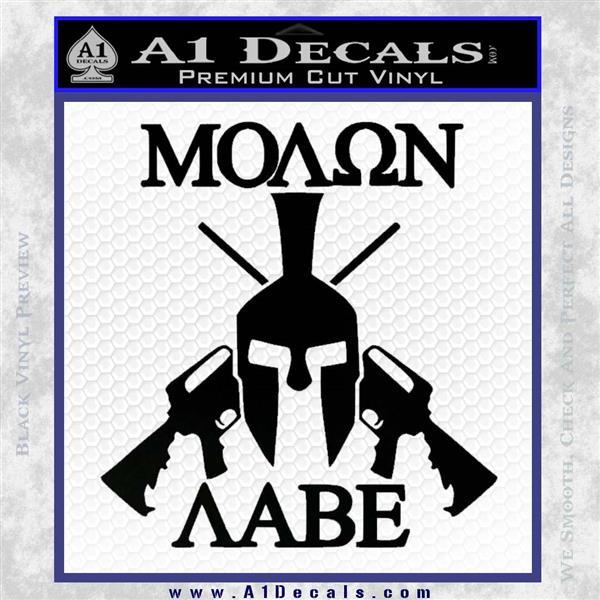 Molon Labe Spartan Cross Rifles Decal Sticker Black Logo Emblem