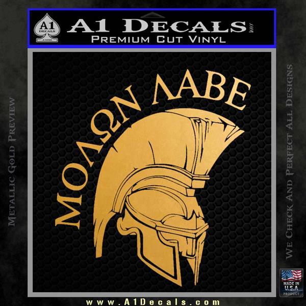 Molon Labe Spartan Decal Sticker INT Metallic Gold Vinyl