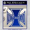 MotorHead Iron Cross Decal Sticker Blue Vinyl 120x120