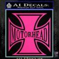 MotorHead Iron Cross Decal Sticker Hot Pink Vinyl 120x120