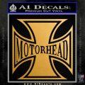 MotorHead Iron Cross Decal Sticker Metallic Gold Vinyl 120x120