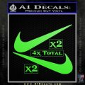 Nike Swoosh 4pk Decal Sticker DN Lime Green Vinyl 120x120