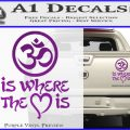 Om Is Where The Heart Is Decal Sticker Purple Vinyl 120x120