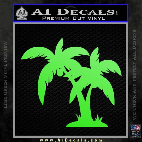 Palm Trees Decal Sticker D16 Lime Green Vinyl