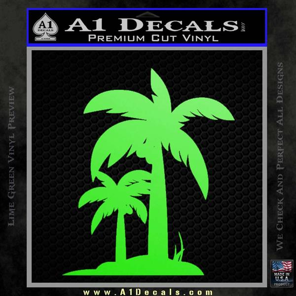 Palm Trees Decal Sticker D17 Lime Green Vinyl