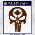 Punish Skull Maple Leaf Decal Sticker Brown Vinyl 120x120