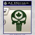 Punish Skull Maple Leaf Decal Sticker Dark Green Vinyl 120x120