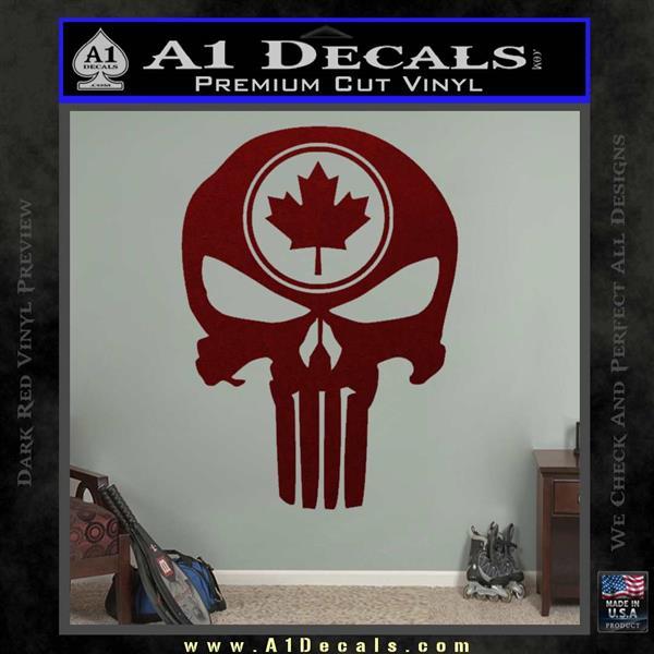 Punish Skull Maple Leaf Decal Sticker Dark Red Vinyl