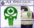 Punish Skull Maple Leaf Decal Sticker Green Vinyl 120x97