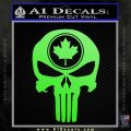 Punish Skull Maple Leaf Decal Sticker Lime Green Vinyl 120x120