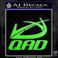 QAD Quality Archery Design Decal Sticker Lime Green Vinyl 120x120