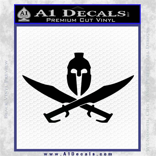 Spartan Crossbones Decal Sticker Black Logo Emblem