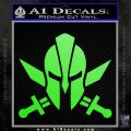 Spartan Crossed Swords D9 Decal Sticker Lime Green Vinyl 120x120