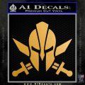 Spartan Crossed Swords D9 Decal Sticker Metallic Gold Vinyl 120x120
