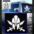 Spartan Crossed Swords D9 Decal Sticker White Emblem 120x120