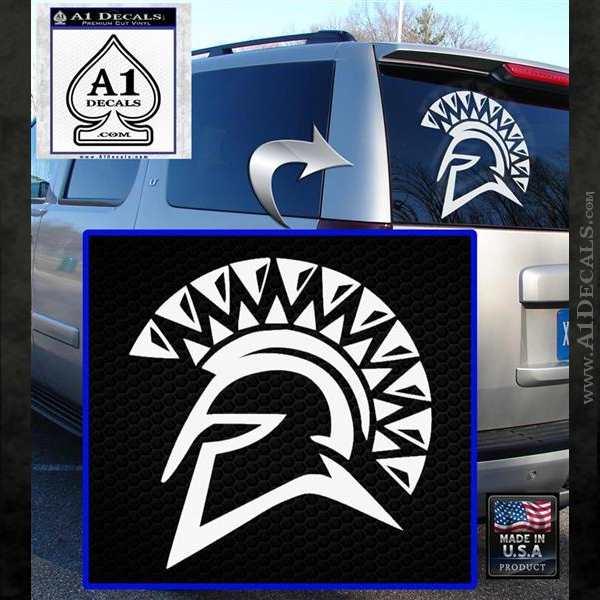Spartan Helmet D13 Decal Sticker White Emblem