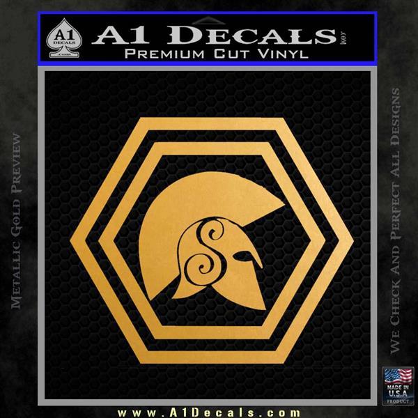 Spartan Helmet Hex Decal Sticker Molon Labe Metallic Gold Vinyl
