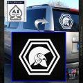 Spartan Helmet Hex Decal Sticker Molon Labe White Emblem 120x120