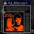 Spock Decal Sticker LLAP Decal Sticker Orange Vinyl Emblem 120x120