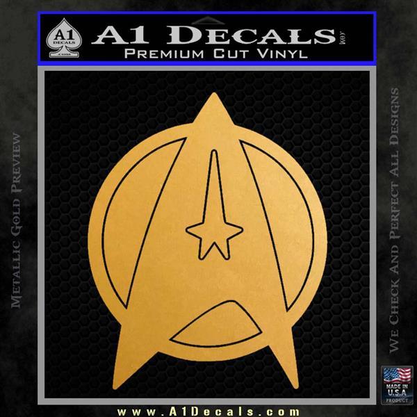Star Fleet Communicator Badge Decal Sticker 2016 Metallic Gold Vinyl Vinyl