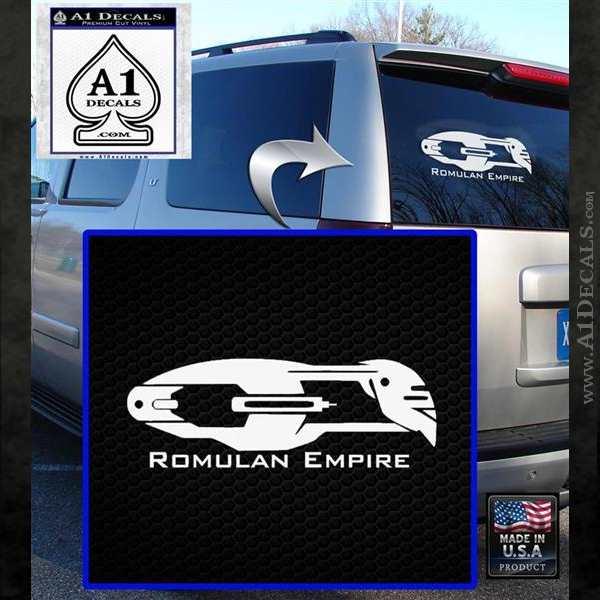 Star Trek Romulan Ship Decal Sticker White Emblem