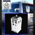 TARDIS 3D Decal Sticker Doctor Who D13 White Emblem 120x120