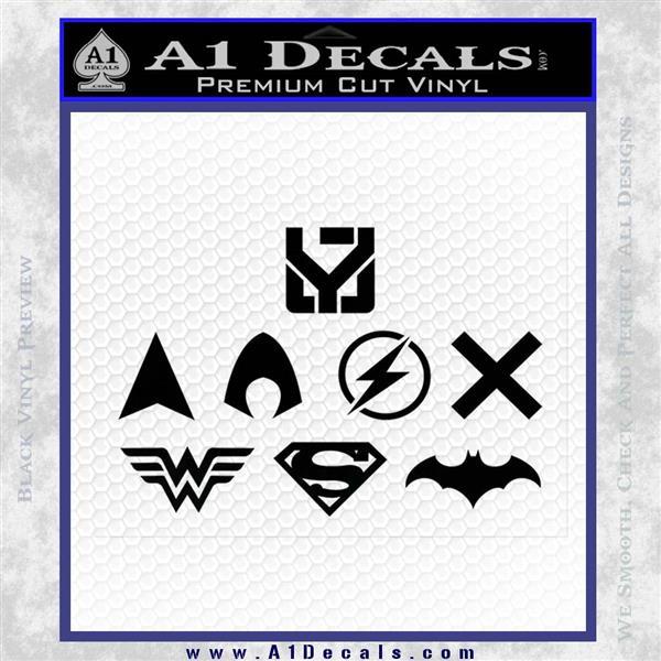 THE JUSTICE LEAGUE LOGO SET VINYL DECAL STICKER Black Logo Emblem