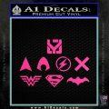 THE JUSTICE LEAGUE LOGO SET VINYL DECAL STICKER Hot Pink Vinyl 120x120