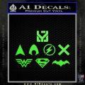 THE JUSTICE LEAGUE LOGO SET VINYL DECAL STICKER Lime Green Vinyl 120x120