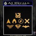 THE JUSTICE LEAGUE LOGO SET VINYL DECAL STICKER Metallic Gold Vinyl 120x120