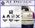 THE JUSTICE LEAGUE LOGO SET VINYL Decal Sticker Carbon Fiber Black 120x97