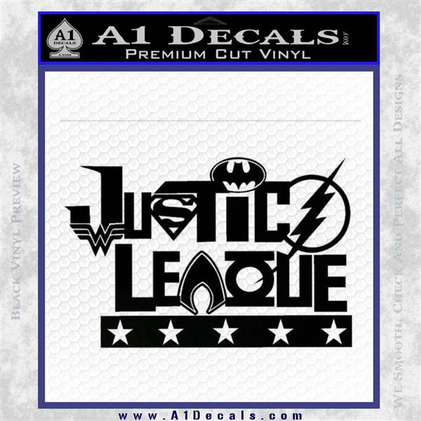 THE JUSTICE LEAGUE TEXT LOGO VINYL DECAL STICKER Black Logo Emblem