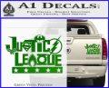 THE JUSTICE LEAGUE TEXT LOGO VINYL DECAL STICKER Green Vinyl 120x97