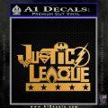 THE JUSTICE LEAGUE TEXT LOGO VINYL DECAL STICKER Metallic Gold Vinyl 120x120